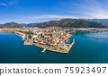 Aerial view of Marmaris at sunset, Turkey. View of the fortress and ships 75923497