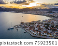 Aerial view of Marmaris at sunset, Turkey. View of the fortress and ships 75923501