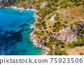 Aerial view of bay Bozukkale, Turkey. Rocky coast of the Aegean sea. 75923506
