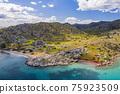 Aerial view of bay Bozukkale, Turkey. Rocky coast of the Aegean sea. 75923509
