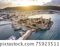 Aerial view of Bodrum at sunrise, Turkey. View of the Saint Peter Castle 75923511