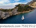 Yacht sailing near the rocky coast in Turkey. Luxury vacation at sea 75923512