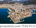 Aerial view of Marmaris at sunset, Turkey. View of the fortress and ships 75923513