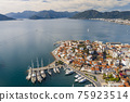 Aerial view of Marmaris at sunset, Turkey. View of the fortress and ships 75923514