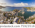 Aerial view of Bodrum at sunrise, Turkey. View of the Saint Peter Castle 75923516