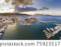Aerial view of Bodrum at sunrise, Turkey. View of the Saint Peter Castle 75923517