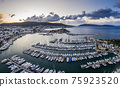 Aerial view of Bodrum at sunrise, Turkey. View of the Saint Peter Castle 75923520
