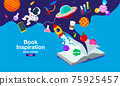 Book Inspiration, Online Learning, study from home, back to school, flat design vector. 75925457