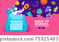 back to school sale banner, poster, flat design colorful, vector 75925463