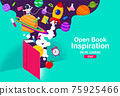 Book Inspiration, Online Learning, study from home, back to school, flat design vector. 75925466