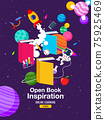 Book Inspiration, Online Learning, study from home, back to school, flat design vector. 75925469