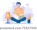 Young man sitting cross-legged and read book. 75927444
