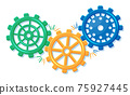 Geometric colorful gear wheels. Cogwheel isolated 75927445