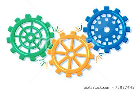 Geometric colorful gear wheels. Cogwheel isolated 75927445
