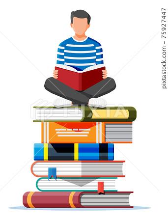 Man sitting cross-legged on stack of books 75927447