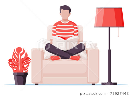 Young man sitting cross-legged and read book. 75927448