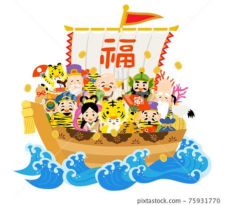 藏寶船 七福神 新年賀卡材料 75931770