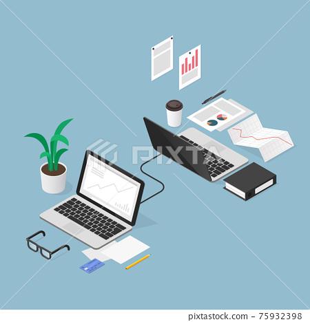 Isometric Finance Task Outsoursing Illustration 75932398