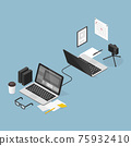 Isometric Video Editing Outsourcing Illustration 75932410