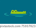 Alligator inside the water. Isolated Vector Illustration 75937623