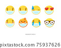 Set of Yellow emoticon Smiley with the mask. Vector Illustration 75937626