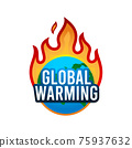 The Earth on flame. Global Warning Sign. Isolated Vector Illustration 75937632