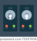 Calling Screen with faceless avatar. Isolated Vector Illustration 75937636