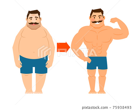 Fat and slim man with mustache 75938493