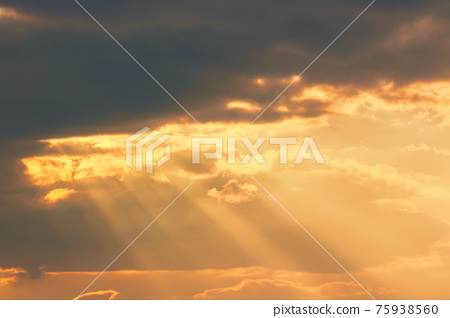 clouds in dramatic evening light. warm yellow nature background 75938560