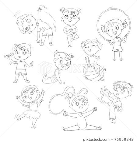 Sport for kids. Physical Training, Fitness, Karate, Yoga, Aerobics, Gymnastics, Dancing. Coloring book 75939848