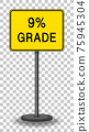9% grade road sign isolated on transparent background 75945304