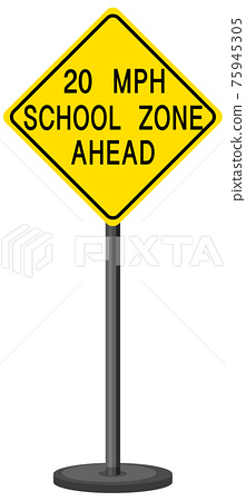 Yellow traffic warning sign on white background 75945305