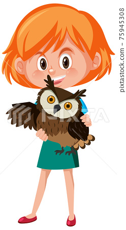 Girl holding cute animal cartoon character isolated on white background 75945308