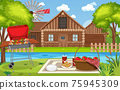 Picnic scene with food on the table and BBQ grill in the garden 75945309