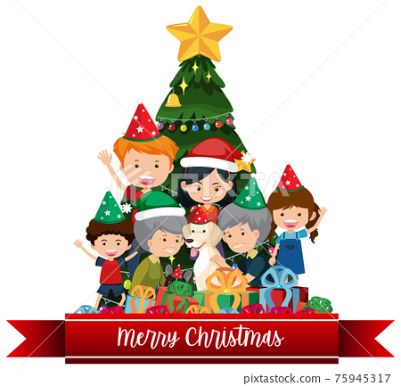 Isolated Merry Christmas banner 75945317