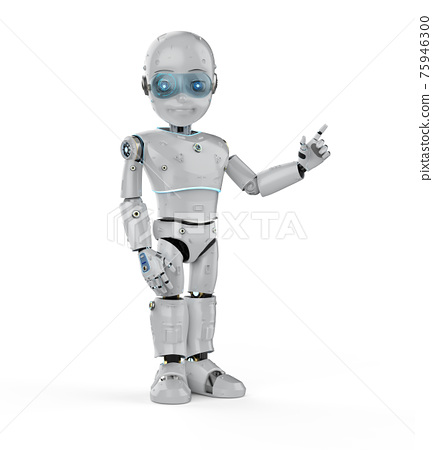 cute robot finger point isolated 75946300
