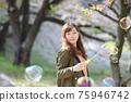 만개 한 벚꽃 벚꽃 배경 여성 초상화 75946742