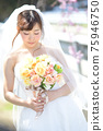 盛開的櫻花,櫻花背景,婚禮,日本新娘的肖像,新娘,婚禮前照片 75946750