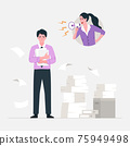 Angry stressed businesswoman is shouting employee office worker with megaphone. Vector flat cartoon character illustration. 75949498