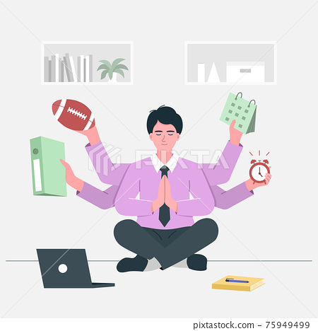 Busy businessman doing yoga meditation on the desk with multitasking and multi skill. Multitasking and time management concept. 75949499