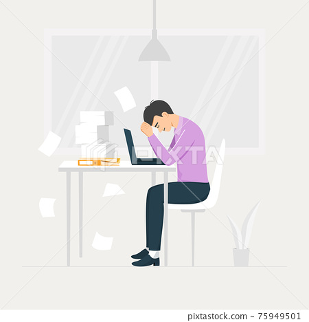 Overworked concept. Stressed young male employee at workplace. 75949501