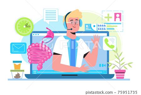 Proctologist online consultation concept vector for medical web. app. blog. Intestine doctors examine, treat dysbiosis. Tiny therapist of proctology 75951735
