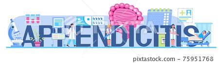 Appendicitis concept header vector for medical websites, blogs. Intestine doctors examine, treat dysbiosis. Tiny therapist of proctology make colonoscopy. 75951768