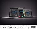Laptop, smartphone ant tablet pc with stock trader application, graphs and diagrams on screen on black background. Stock exchange market concept. 75958081