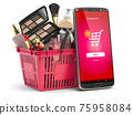 Cosmetics and beauty products buying online concept. Shopping basket with makeup products and mobile phone with app for buying on the screen. 75958084