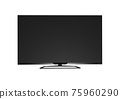 Black LED tv television screen blank on white background 75960290