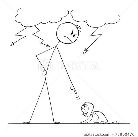 Man Oppressing Woman Using His Power, Vector Cartoon Stick Figure Illustration 75960470