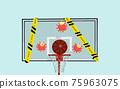 Basketball backboard and virus, warning tapes. Quarantine canceling matches games 3d render 75963075