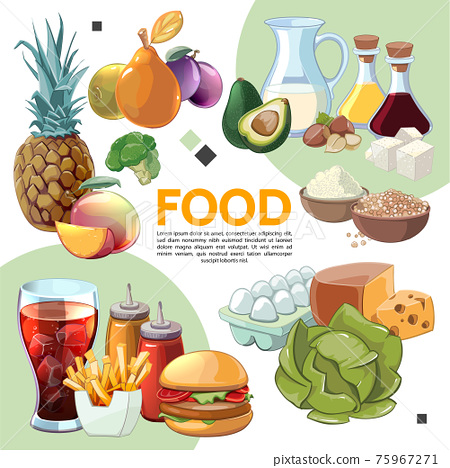 Colorful Cartoon Food Composition 75967271