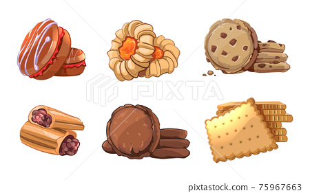 Cookies vector icons set in cartoon style 75967663